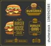 fast food menu. burger emblems  ... | Shutterstock .eps vector #1380542585