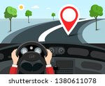 car navigation with red pin on... | Shutterstock .eps vector #1380611078