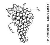 grape bunch monochrome sketch... | Shutterstock .eps vector #1380613565