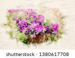basket with purple wild mallow... | Shutterstock . vector #1380617708