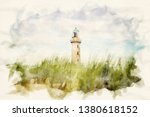 lighthouse of warnemuende with... | Shutterstock . vector #1380618152