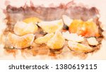 peeled tangerine on a wet... | Shutterstock . vector #1380619115