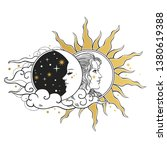 moon and sun  day and night.... | Shutterstock .eps vector #1380619388
