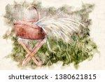 basket with grain on stool in... | Shutterstock . vector #1380621815
