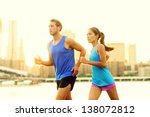city running couple jogging... | Shutterstock . vector #138072812