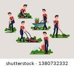set of various gardener poses... | Shutterstock .eps vector #1380732332