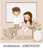 cute romantic  cartoon couple... | Shutterstock .eps vector #1380741935