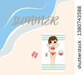cute girl laying down on the... | Shutterstock .eps vector #1380743588