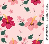 pink flower and leaf seameless... | Shutterstock .eps vector #1380744182