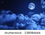 tragic night sky with a full... | Shutterstock . vector #138086666