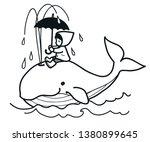 cute whale swims in ocean... | Shutterstock .eps vector #1380899645
