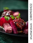 meat with beetroots in bbq... | Shutterstock . vector #1380903422