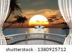 3d wallpaper design waterfall... | Shutterstock . vector #1380925712