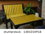 yellow chair and table set on... | Shutterstock . vector #1381010918