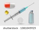 medical syringe with a needle.... | Shutterstock .eps vector #1381045925