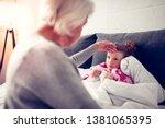 sick granddaughter. cute dark... | Shutterstock . vector #1381065395