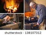 Blacksmith at work - collage - stock photo