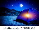 Camp On Sandy Beach  Tent At...