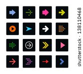 arrow icon set web sign. color...