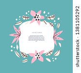 floral circle with text space... | Shutterstock .eps vector #1381105292