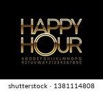 vector golden sign happy hour... | Shutterstock .eps vector #1381114808