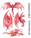 watercolor collection of dragon ...   Shutterstock . vector #1381140005
