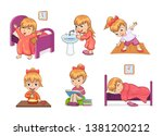 girl and daily routine... | Shutterstock . vector #1381200212