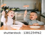 boy and girl children in the... | Shutterstock . vector #1381254962