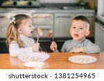 boy and girl children in the... | Shutterstock . vector #1381254965