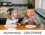 boy and girl children in the... | Shutterstock . vector #1381254968