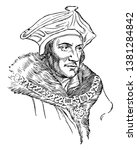 Sir Thomas More, 1478-1535, he was an English lawyer, social philosopher, author, statesman and noted Renaissance humanist, vintage line drawing or engraving illustration