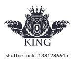 angry bear with a crown on his... | Shutterstock .eps vector #1381286645