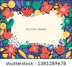 floral frame in boho style.... | Shutterstock .eps vector #1381289678