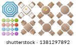 vector set. tables with chairs... | Shutterstock .eps vector #1381297892
