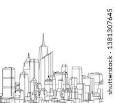 modern city panorama 3d... | Shutterstock .eps vector #1381307645