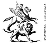 Bellerophon riding Pegasus and fighting with Chimera, vintage line drawing or engraving illustration.