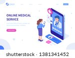 doctor online concept with... | Shutterstock . vector #1381341452