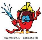 funny cartoon tomato on the... | Shutterstock .eps vector #138135128