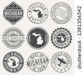 michigan set of stamps. travel... | Shutterstock .eps vector #1381356542