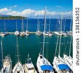 Marina port at Corfu island in Greece