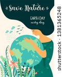 save nature. earth day. vector... | Shutterstock .eps vector #1381365248