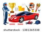 cartoon racing elements... | Shutterstock .eps vector #1381365338