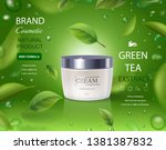 green tea cream ads with leaves ... | Shutterstock .eps vector #1381387832