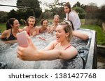 small group of female friends... | Shutterstock . vector #1381427768