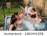 small group of female adults... | Shutterstock . vector #1381441358