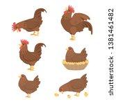 cartoon cock and hen  vector | Shutterstock .eps vector #1381461482