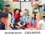 group of elementary pupils in... | Shutterstock . vector #138148595