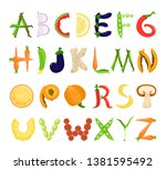 food alphabet tasty set  font... | Shutterstock .eps vector #1381595492