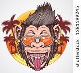 summer ape chimpanzee head... | Shutterstock .eps vector #1381599245