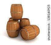 Set Of Wooden Barrels On White...